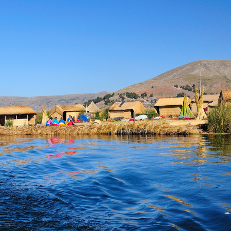 Floating community of Uros at Lake Titicaca