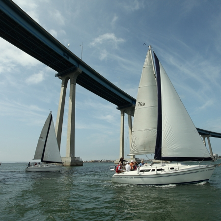 Sailing the San Diego Bay offers amazing views of all of the waterfront sites.