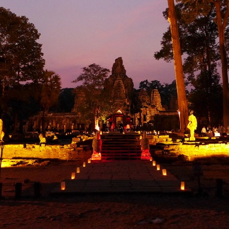 An elephant ride around the grounds of the Bayon Temple, followed by a gala dinner on the temple grounds with traditional performances.