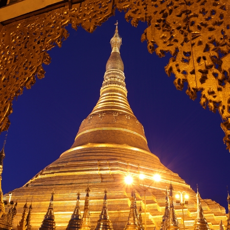 Shwedagon Pagoda towers almost 98 meters above the green cityscape of Yangon and is one of the wonders of the religious world.