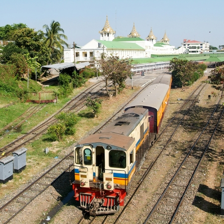 Yangon's circular train takes passengers from Yangon, up to Insein and loops round in a circle down to Yangon again.