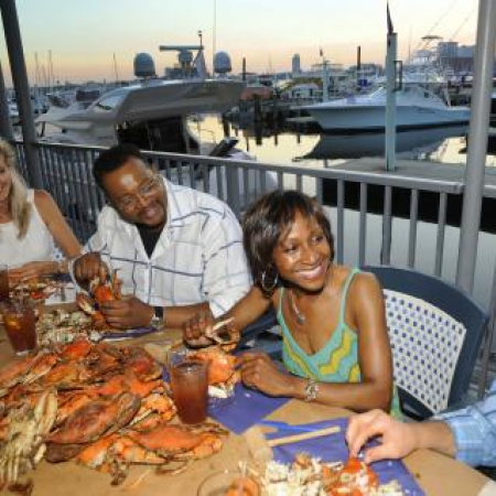 Enjoy a cozy crab feast at one of the waterfront restaurants.