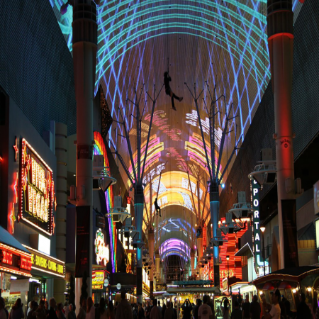 Ride SlotZilla, a 12-story slot machine-inspired zip line at Fremont Street Experience.