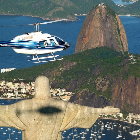 Helicopter tour over Christ the Redeemer and Rio de Janeiro beaches.