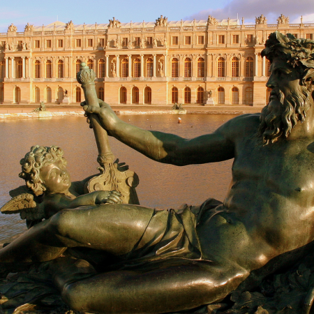 The magnificent domain of Versailles, the historical and luxurious home of Louis XIV (the Sun King), forms Europe's finest ensemble of Regal splendor. In the morning, guests will be driven to Versailles, visit the famous palace, and take a short walk in the gardens.