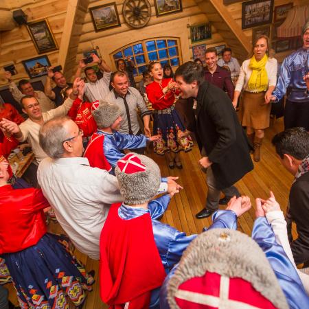 Kazakh dancing at a Russian style restaurant.