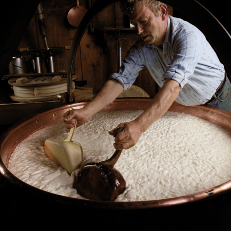 Swiss Gastronomy, learn and see how the famous Gruyere Swiss cheese is made
