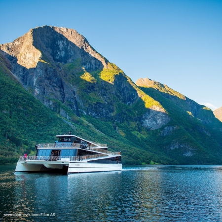 Embark on emission-free cruise on Nærøyfjord and experience a completely new standard in design and technology.