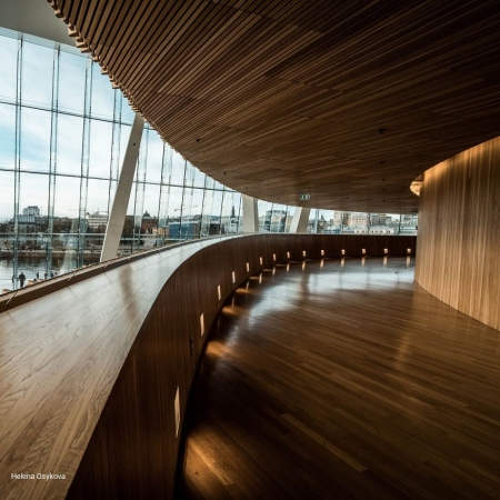 Go behind the curtain of impressive and beautiful building of National Opera house in Oslo
