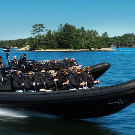 Rib Boat speed sensation:  An adventurous way to experience Stockholm and the archipelago from the water, at high speed with a so-called Rigid Inflatable Boat. The RIB boats' outstanding performance allows you to reach spectacular parts of the archipelago that would be inaccessible in a slower vessel. Unforgettable whether the water is mirror-like or choppy.
