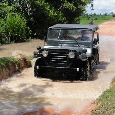 Travel by Jeep to Kampong Pluk, a cluster of stilted villages located in the flood plain of the great Tonlé Sap Lake.