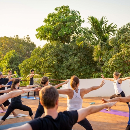Start your day with a uniquely tailored early morning sunrise yoga or meditation programme at the stunning Angkor Wat, Phnom Krom, or Pagoda.