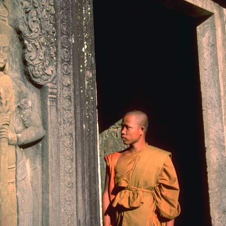 Following an unforgettable sunrise at Angkor Wat, visit the magnificent Angkor Thom and Ta Phrom jungle temple.