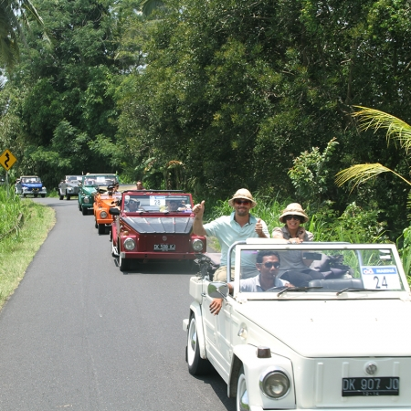 Cruise through the rice fields of Bali in vintage VW Safari vehicles.
