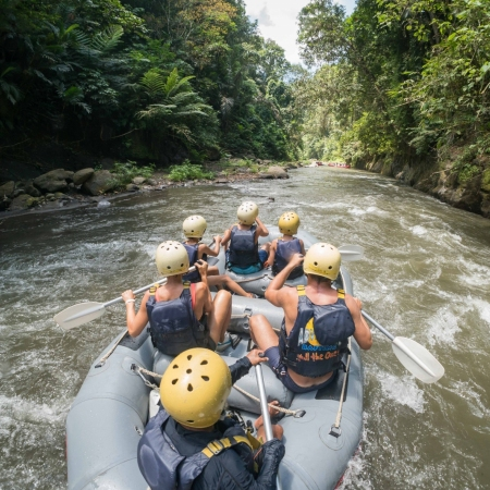 Navigate class II and III rapids set to a backdrop of Bali's wild unspoiled rainforest, towering gorges, and magnificent rice paddy terraces.