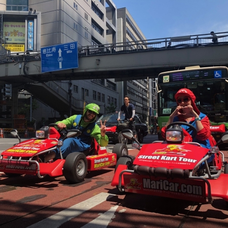 Cosplay as Mario, Pikachu, and many other characters from popular culture, as you take your go-kart for a spin in the streets of Tokyo.
