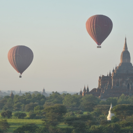 Float silently over the plains of Bagan, taking in the sight of a thousand temples and the meandering Ayeyarwady River as the sun rises at dawn.
