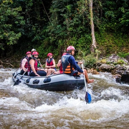 Embark on a pulsating ride downriver and over white-water rapids in Phang Nga's Ton Pariwat Wildlife Sanctuary.