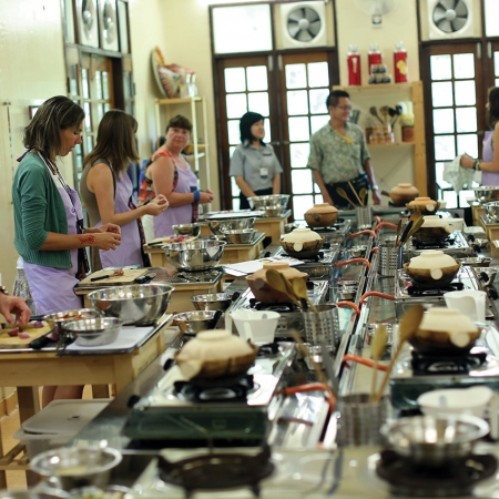 Interactive cooking classes at UFM Baking and Cooking School in central Bangkok.