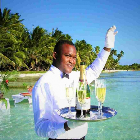 VIP wet cocktail in a lagoon with champagne delivered by helicopter