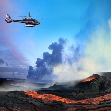Helicopter over a Volcano, Hawaii Island