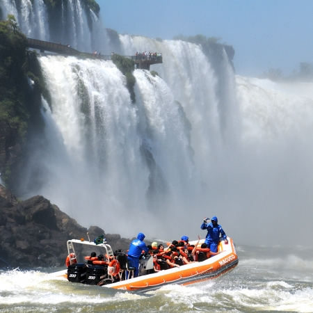 Macuco Safari Zodiac boat tour in the waters of the Amazing Iguassu Falls.