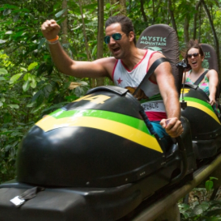 Visit Mystic Mountain and experience Jamaica's Bobsled