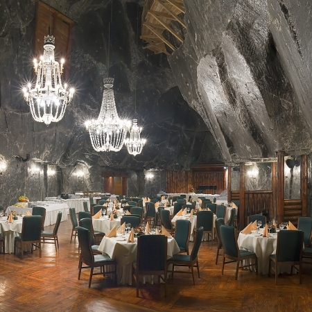 Dine at Wieliczka Salt Mines – UNESCO World Heritage – in magnificent crystal salt rock chambers.
