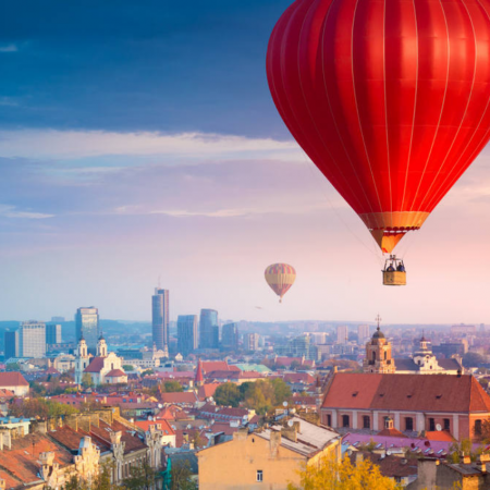 Hot air balloon flight over the Vilnius Old Town
