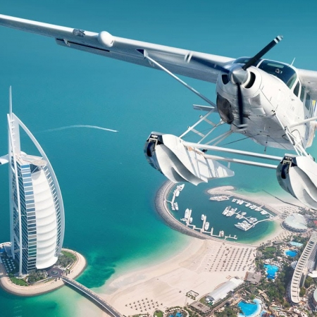 Experience Dubai by air with a seaplane transfer to an exclusive resort on a private island