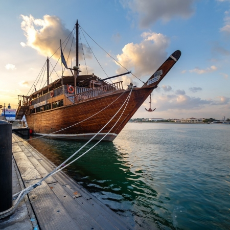 Visit Old Dubai and have lunch, whilst cruising on a traditional Dhow.