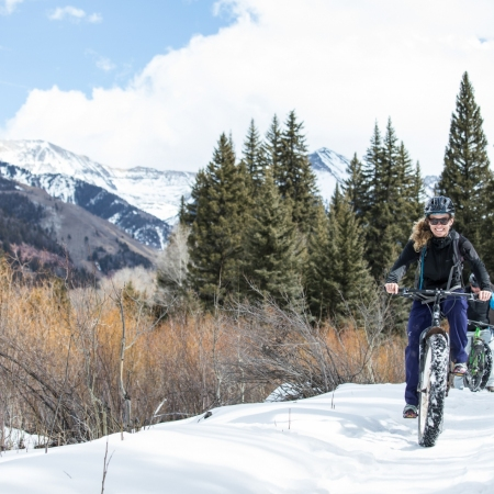 Take part in a variety of winter activities, including fat tire biking