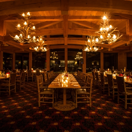 Enjoy a cozy intimate dinner in a mountain lodge