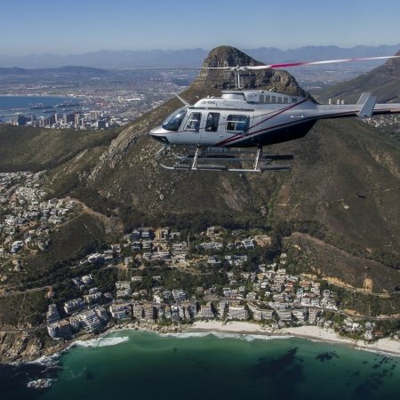 Go on helicopter flights over the Cape Town city bowl and The Cape Peninsula